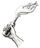 Hand mit einem Molotowcocktail stock abbildung