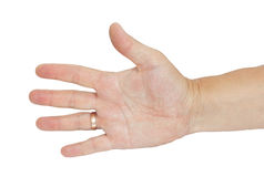 Hand mit einem Ring der Männer Stockfoto