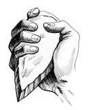 Hand mit einer Steinaxt stock abbildung