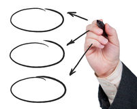 Hand mit felt-tip Federzeichnungspfeilen. Lizenzfreie Stockfotos