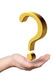 Hand mit Fragezeichen Stockbild