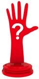 Hand mit Fragezeichen Stockfoto