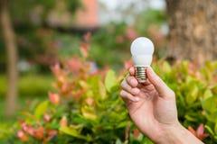 Hand mit Glühlampe lizenzfreie stockbilder