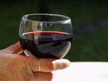 Hand mit Glas Rotwein stockbild