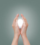 Hand mit Glühlampe Stockfoto