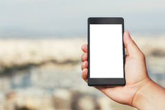 Hand mit intelligentem Telefon Lizenzfreie Stockfotos