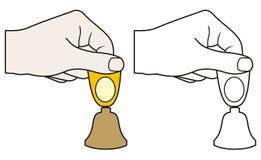 Hand mit kleiner Glocke Lizenzfreie Stockfotos