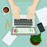Hand mit Laptop stock abbildung