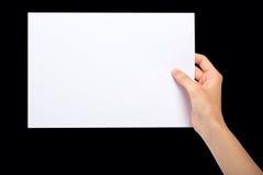 Hand mit leerem Blatt Papier Lizenzfreies Stockbild