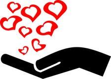 Hand mit Liebe Stockfotografie