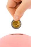 Hand mit Münze und piggy Querneigung Stockbilder