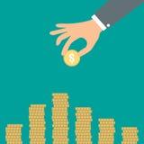 Hand mit Münzen Lizenzfreie Stockfotografie