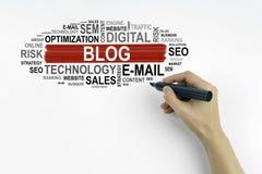 Hand mit Markierungsschreiben - Blog, Geschäftskonzept Stockbild
