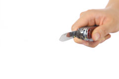 Hand mit Messer Stockfoto