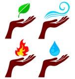 Hand mit Naturelementen Lizenzfreies Stockbild