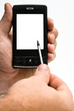 Hand mit PDA Stockfotografie