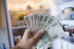 Hand mit PLN-Geld vor offenem Kühlschrank Stockbild