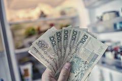 Hand mit PLN-Geld vor offenem Kühlschrank Lizenzfreies Stockfoto