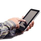 Hand mit Tablette-PC Lizenzfreie Stockfotos