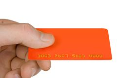 Hand mit unbelegter Rabatkarte Lizenzfreies Stockbild