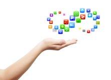 Hand mit viel apps Lizenzfreies Stockfoto