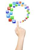 Hand mit viel apps als Kreis lizenzfreie stockfotografie