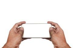 Hand mit weißem Schirm des intelligenten Telefons, Beschneidungspfad Stockfotografie