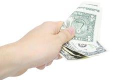 Hand mit wenigen Dollars getrennt auf Weiß Stockbild