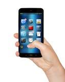 Hand mit Wiedergabe des Handys 3D Stockfoto