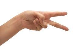 Hand mit zwei Fingern Lizenzfreies Stockfoto