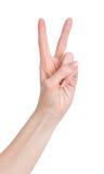 Hand mit zwei Fingern oben im Friedens- oder Siegsymbol Stockbild