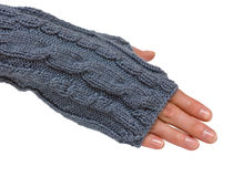 Hand in mitten. Female hand clothed in mitten. Isolated on white background Stock Image