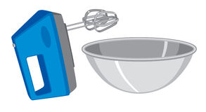 Hand mixer and bowl. An electric hand mixer and mixing bowl.  EPS8 vector file also available Royalty Free Stock Images