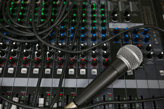 Hand on a Mixing Desk with vintage picture style, Music equipment in training room Stock Photo