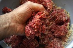 Hand Mixing Meat  Royalty Free Stock Image