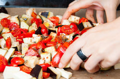 Hand mixing vegetables Royalty Free Stock Image