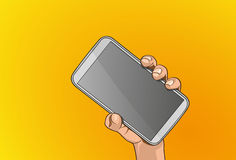 Mobile on hand. Vector illustration - Beautiful hands holding a smart phone in outline version Royalty Free Stock Photos