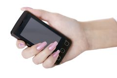Hand with a mobile phone Royalty Free Stock Photography