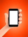 Hand and mobile phone Stock Images