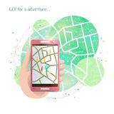 Hand with mobile phone and gps maps. Hand with mobile phone / Game locations / navigation /  maps /  Search hidden items and get bonuses / simulation of reality Royalty Free Stock Photos