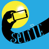Hand with mobile phone make selfie photo. Royalty Free Stock Photography