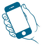 Hand with mobile phone Stock Photos