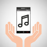 Hand mobile phone music icon Stock Photography