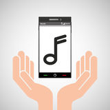 Hand mobile phone music note Stock Images