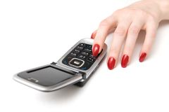 Hand with mobile phone wide angle Royalty Free Stock Image