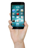 Hand with mobile phone. Woman holding modern mobile phone in her hand Royalty Free Stock Photography