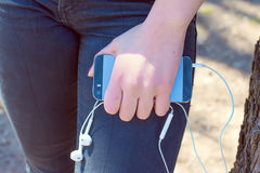 Hand with mobile smart phone Royalty Free Stock Image