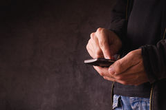 Hand with mobile smart phone Royalty Free Stock Photo