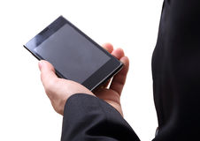 Hand and mobilephone Stock Photos