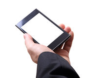 Hand and mobilephone. Closeup image of business man holding mobilephone Stock Images